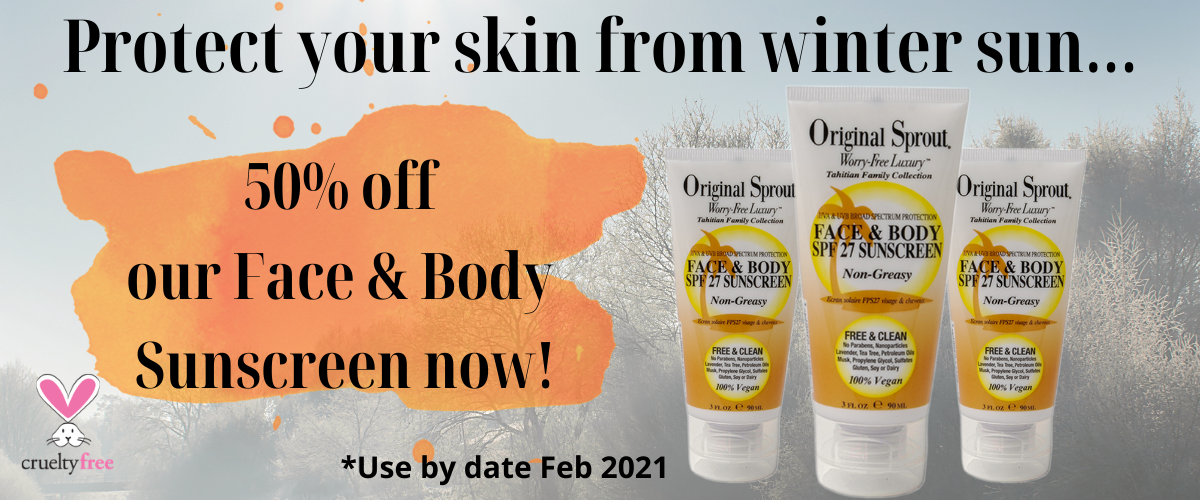 50% off our Face and Body Sunscreen now with a use by date of Feb 2021
